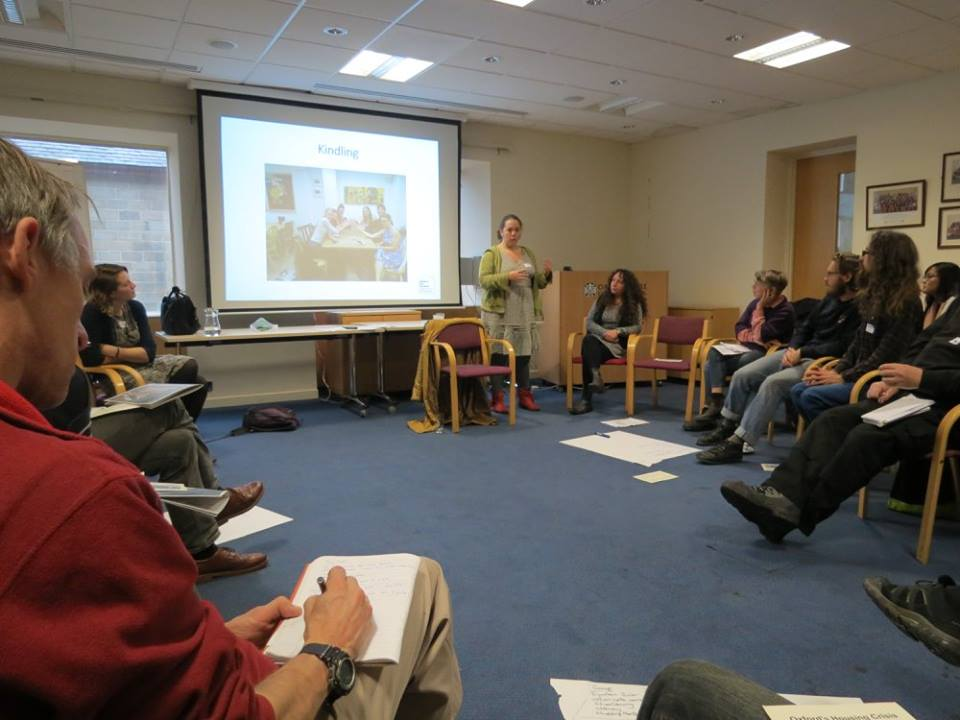 Miranda from Kindling Housing Co-op sharing their challenges and successes in starting the 2nd housing co-operative in Oxford. Photo by CAG